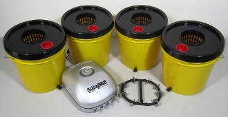 Yellow Jacket 2 Gal. Grow Bucket DWC Quad System Bundle